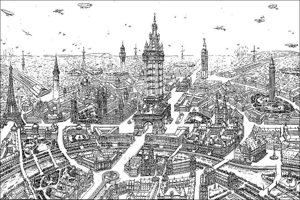 Illustration of a future Paris by Eugène Hénard