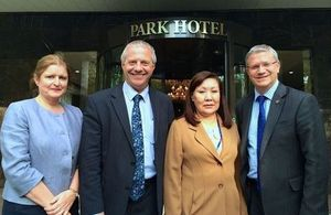 Ambassador Judith Farnworth, MP John Mann, Kyrgyz Vice Speaker Sasykbaeva, and MP Rosindell