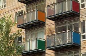 Colourful balconies.