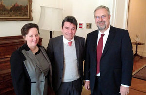 Ambassdor Fiona Clouder; Deputy Environment Minister, Mr. Marcelo Mena, and General Manager of the British Chilean Chamber of Commerce, Greg Holland.