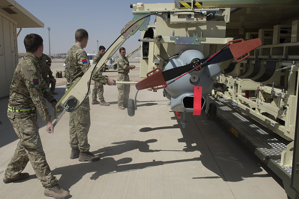 Royal Artillery personnel assembling a Watchkeeper unmanned air system