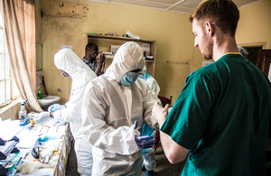 Clinicians from King's Health Partners working with local medical staff as part of the response to Ebola in Sierra Leone. Picture: Michael Duff/King's Health Partners