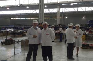 The Ambassador Simon Manley visits a fruit processing facility