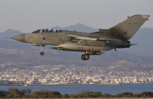 A Tornado GR4 returning to RAF Akrotiri after a mission [Picture: Corporal Neil Bryden RAF, Crown copyright]