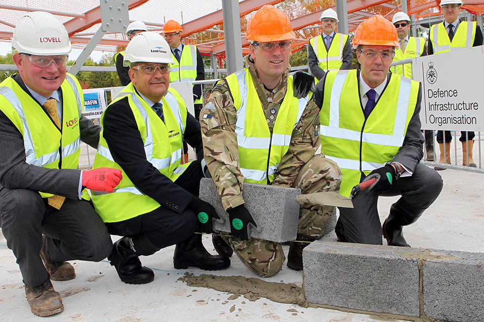 Laying an internal block at the combined mess building