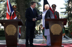 David Cameron meets President Ghani at the presidential palace in Kabul, Afghanistan, Friday, Oct. 3, 2014.