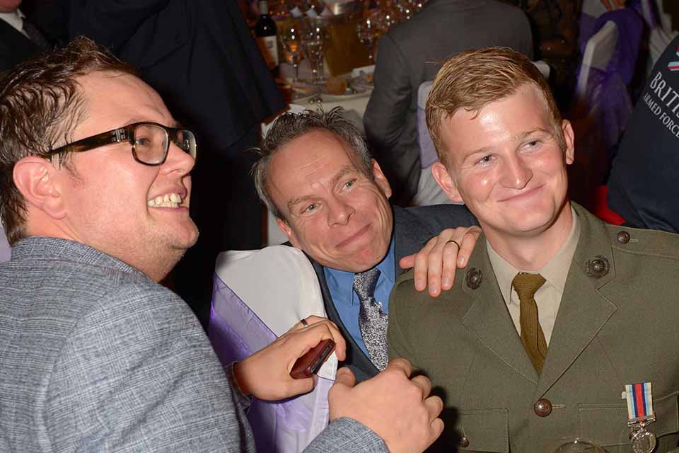 Alan Carr, Warwick Davis and Royal Marine Sam Stocks