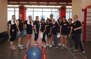 British Embassy Jakarta's staff joined the class at Fitness First to support 'Fit for Fashion'