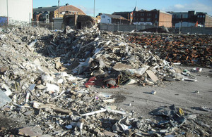 Waste built up at the site of the Old Lancashire Dairy Mill at Knowsley St. off Cheetham Hill Rd.