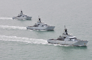 Royal Navy River Class offshore patrol vessels (from left) HMS Severn, HMS Mersey and HMS Tyne (library image) [Picture: Leading Airman (Photographer) Al Macleod, Crown copyright]