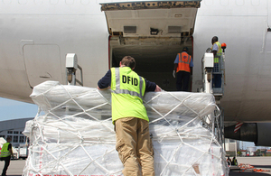 UK aid to tackle Ebola is unloaded in Freetown, Sierra Leone. Picture: James Fulker/DFID