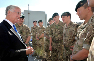 Defence Secretary Michael Fallon talks to 1 Assault Group Royal Marines during his visit to RFA Argus [Picture: Petty Officer Airman (Photographer) Paul A'Barrow, Crown copyright]