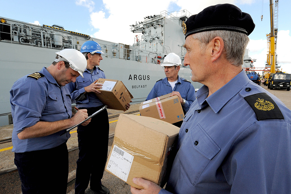RFA Argus Executive Officer, Chief Officer Shane Wood checks the first load of medical supplies