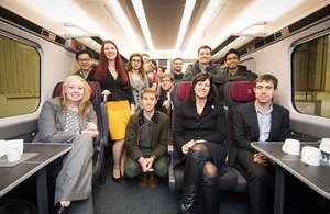 Rail Minister Claire Perry toured a mock-up of Hitachi's new train, part of the government's £5.7billion Intercity Express Programme.