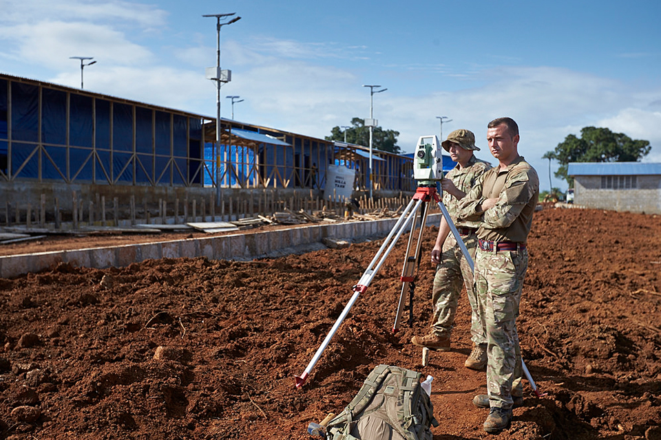 Royal Engineers surveying the Ebola treatment centre site