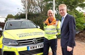 Graham Dalton with a West Midlands Highways Agency Traffic Officer