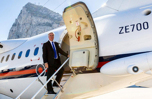 Defence Secretary Michael Fallon arrives in Gibraltar [Picture: Simon Peter Newbound, Copyright]