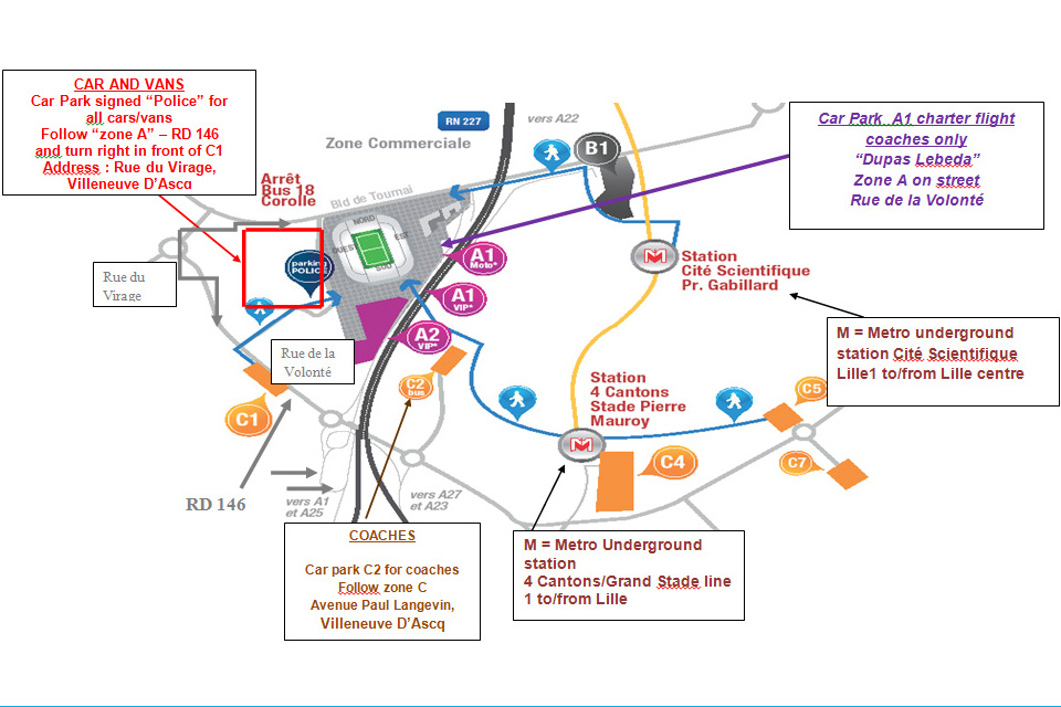 Map of stadium area and car parks