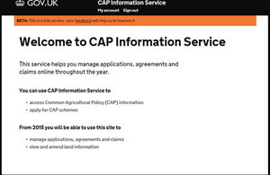 CAP Information Service Welcome Screen