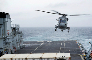 The first of 3 Merlin Mk2 helicopters from 820 Naval Air Squadron touches down on RFA Argus [Picture: Petty Officer Airman (Photographer) Carl Osmond, Crown copyright]