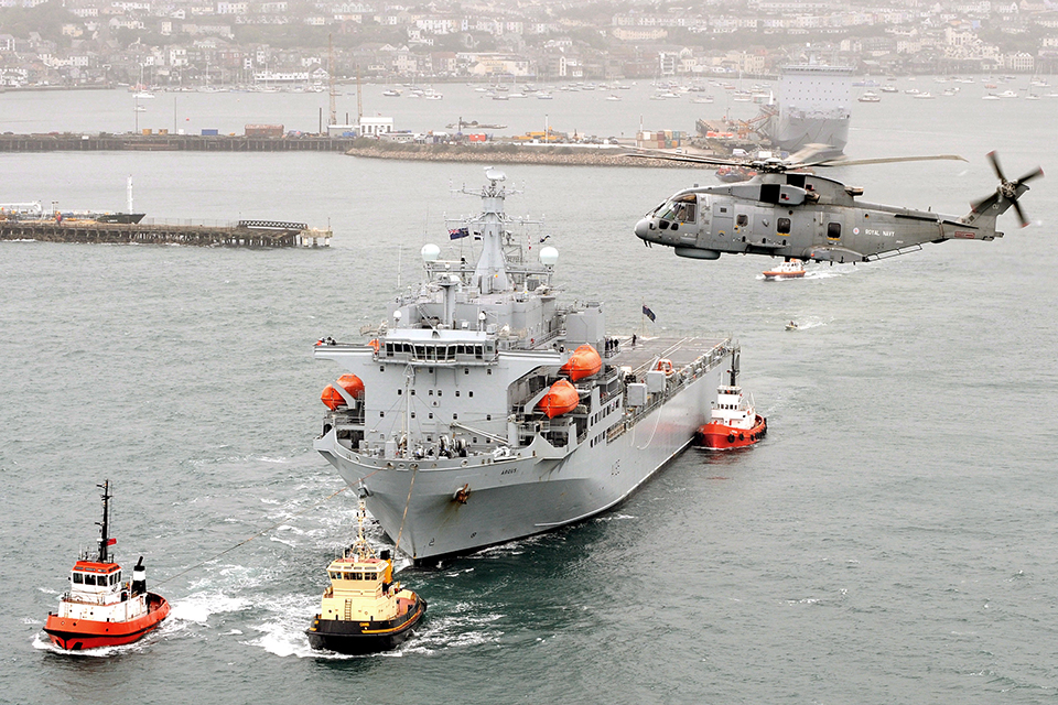 RFA Argus leaves Falmouth