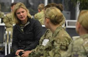 International Development Secretary Justine Greening talks to medics before to flying to Freetown. Picture: Cpl Richard Cave/MOD/Crown Copyright 2014