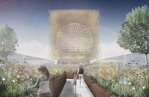 Artist's impression of the UK Pavilion and its wildflower meadow at Milan Expo 2015