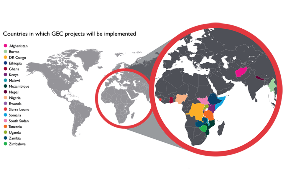 Countries in which GEC projects will be implemented.