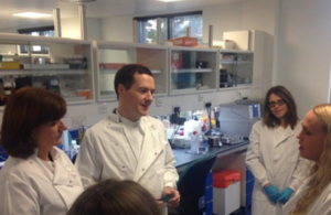 George Osborne and Nicky Morgan during a lab visit at the Research, Innovation, Learning and Development (RILD) centre at Exeter University