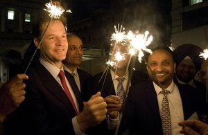 Nick Clegg with sparklers at Diwali reception