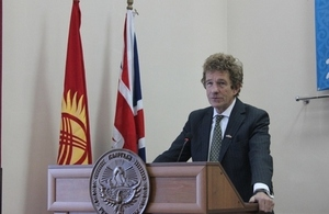 Lord Faulks speaks at the Law Academy in Bishkek