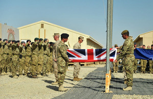 Union Flag lowered for the last time at Camp Bastion