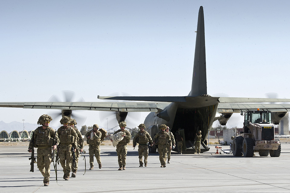 British military personnel arrive at Kandahar Airfield
