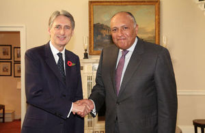 Foreign Secretary Philip Hammond meeting Egyptian Foreign Minister Sameh Shukri in London.