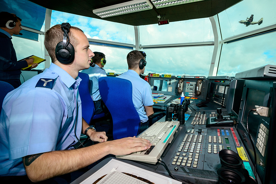Inside the air traffic control tower at RAF Brize Norton