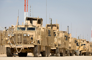 Mastiff vehicles in Camp Bastion [Picture: Corporal Dan Wiepen RLC, Crown copyright]