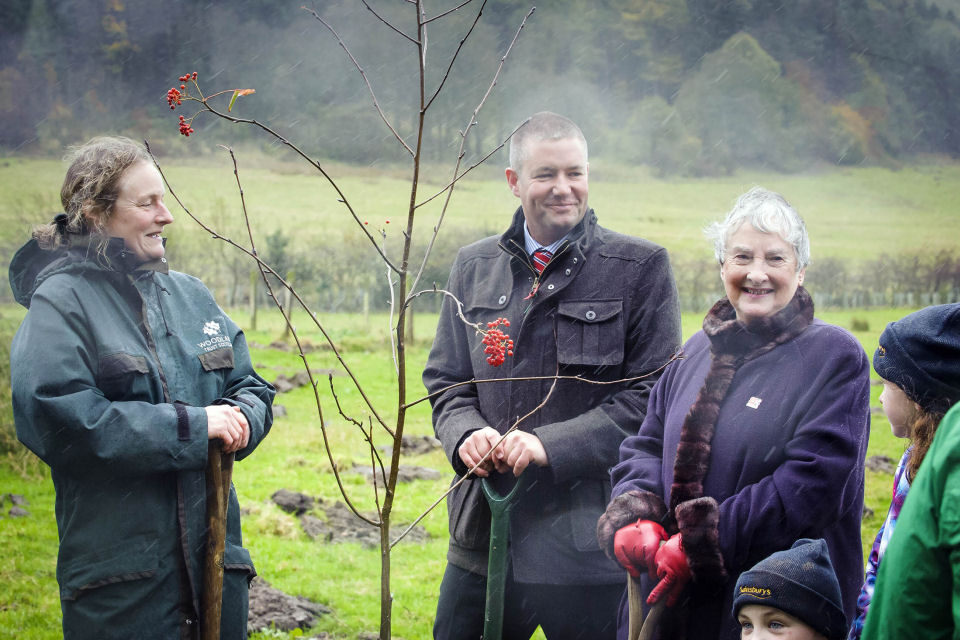 Pictured L-R  Carol Evans, director of the Woodland Trust Scotland, Marc Watson, Sainsbury's Longstone store manager and Margaret Murison from Mid Calder.