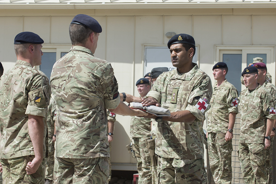 The flag lowering ceremony at Camp Bastion's Role 3 Hospital