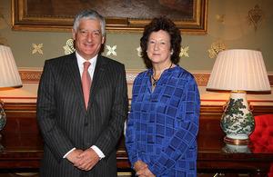 Baroness Anelay with David Bernstein, Chairman of the British Red Cross