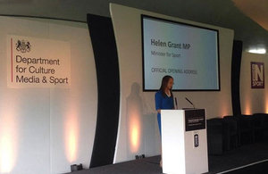 Helen Grant speaking at the Transforming Sport: The Women's Sport Conference