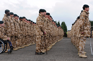 4 RIFLES parade at Bulford in 2009 to receive their Afghanistan Operational Service Medals [Picture: Sergeant Dan Harmer RLC, Crown copyright]