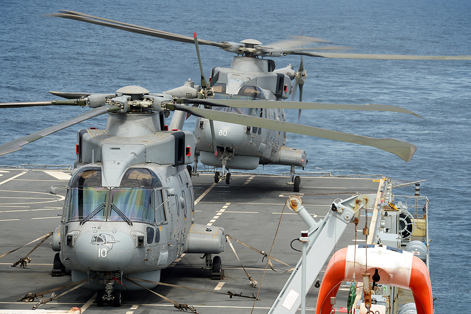 A Merlin Mk2 helicopter lands onboard RFA Argus