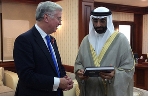 Defence Secretary Michael Fallon meets Mohammed Ahmad Al Bawardi Al Falasi the Under-Secretary of the UAE Ministry of Defence, in Abu Dhabi [Picture: Crown copyright]