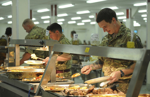 Troops in the dining facility in Camp Bastion [Picture: Lieutenant Commander Woodman RN, Crown copyright]