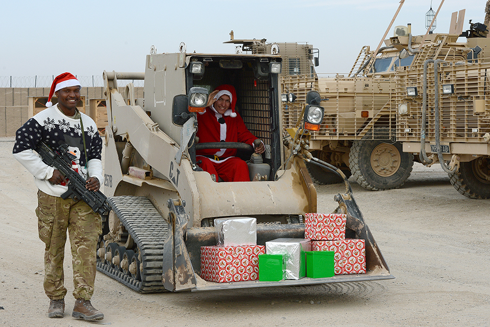 Troops delivering Christmas post in Camp Bastion