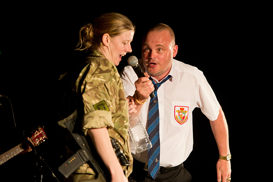 Al Murray entertaining troops in Camp Bastion