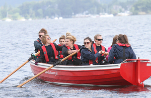 South Worcestershire College (one of the 2014 finalist teams), competing in the final part of the Brathay Apprentice Challenge – the whaler boat race.
