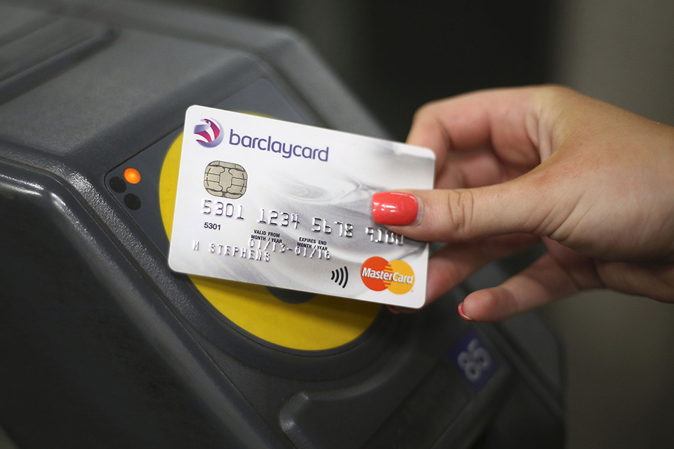 Contactless card being used on the tube
