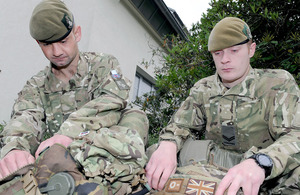 Private Liam Blowman and Corporal Nick Sanderson, 1st Battalion The Yorkshire Regiment, pack their equipment at Oxford Barracks, Munster, Germany, in preparation for their deployment to Afghanistan