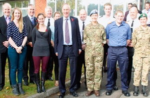 Julian Brazier TD MP (centre) meets reservists and staff during his visit to UKHO